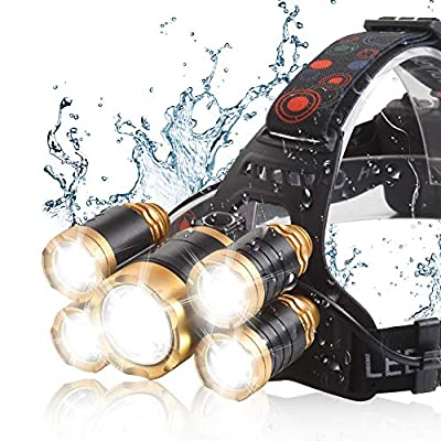 Headlamp 12000 LM Ultra Bright CREE LED Zoomable Work Headlight micro-USB Rechargeable, 4 Modes Waterproof Head Lamp Best Headlamps for Camping Hiking Hunting Outdoors