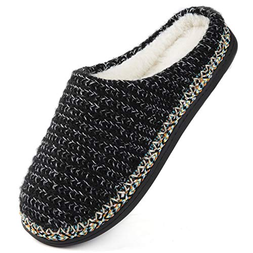 HomeTop Women's Comfy Cotton Knit Memory Foam Ballerina Slippers Light Weight Terry Cloth House Shoes w/Stretchable Heel Design (Medium / 7-8 B(M) US, Gray)