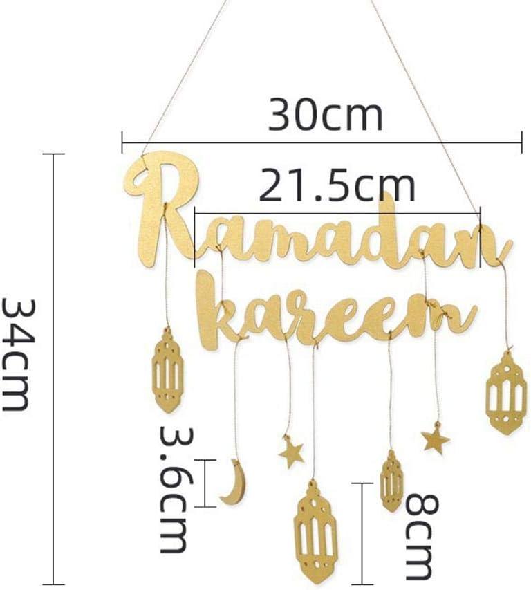 Lettres du Ramadan Kareem d/écor /à Suspendre pour la Chambre /à Coucher de Fournitures de lA/ïd al-Fitr Panneaux Suspendus en Bois du Ramadan Dan/&Dre Ornements Eid Mubarak