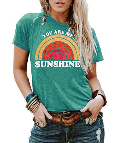 Kaislandy Womens You are My Sunshine T Shirt Short Sleeve Printed Graphic Tees Casual Summer O Neck Tops Shirts Green