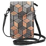 Cubos de hormigón y cobre ligeros pequeños Crossbody Bolsas de teléfono celular monedero para mujeres y niñas con práctico transporte