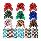 Arco de Navidad 9pcs Arcos con 90pcs Stickers Pull Bows Regalos Regalos Regalos Navidad Arcos Surtido Árbol de Navidad Decoración for el Año Nuevo Vacaciones Arca los Colores tradic