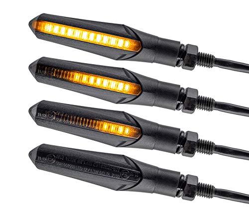 Intermitentes LED para motocicleta, efecto de carrera, secuencial, negro, universales, para quad, ATV, luz de marcha y buen aspecto, prueba de agua IP67 E