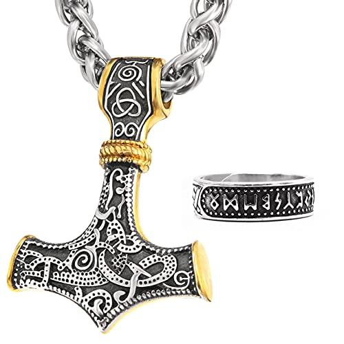 BaviPower 2 Tonos Mjolnir Thor's Hammer Collar Colgante Acero Inoxidable Collar Escandinavo Nórdico Auténtica Joyería Vikinga