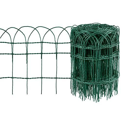 Amagabeli Gartenzaun Bordüre 0.4Mx25M Dekorative Verzinktem Draht und RAL6005 PVC-beschichteter Gartenzaun Metall Zaunelementen Gartenzaun Dekorative Zaun Komplettset Zaun Metall Holz Draht Zäune HC02