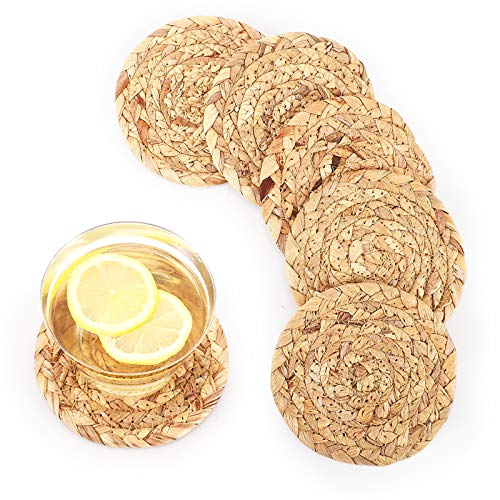 Braided Coasters for Drinks, Accmor Absorbent Cup Coasters, 6 Pack Natural Water Hyacinth Weave Coaster Round Rattan Tablemats Pads for Dining Table Desk Protection