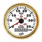 Instrumento externo de coche Cuentakilómetros del cuentakilómetros GPS 0-35Knots 0-40MPH for embarcaciones de yates con retroiluminación 3-3 / 88 '' (85mm) 12V / 24V Actualización de instrumentos de a