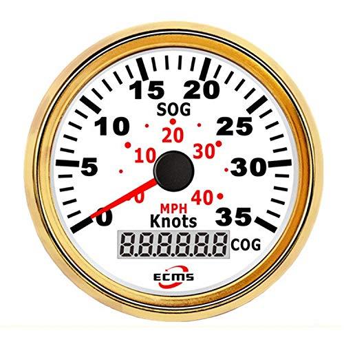 Autometermeter GPS Tacho Kilometerzähler 0-35Knots 0-40MPH for Boote Yacht Schiffe Mit Hintergrundbeleuchtung 3-3/88 '' (85mm) 12V / 24V