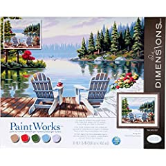 Scenic paint by numbers kit includes high-quality acrylic paints, printed art board, paintbrush, and easy instructions. Completed Lakeside Morning scenic painting measures 20'' x 16''. Follow the instructions of this easy paint by numbers kit to crea...