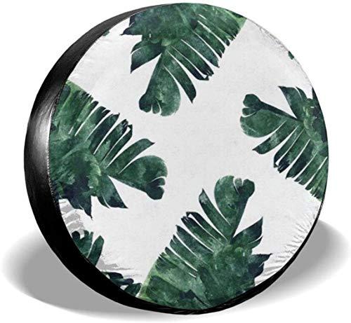 MODORSAN Banana Leaf - Cubierta de neumático de Rueda de Repuesto de Acuarela, de poliéster, Cubiertas de Rueda universales para Jeep, Remolque, RV, SUV, camión, Accesorios, 16 Pulgadas