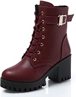 Ladies Cleated Platform Sole Ankle Boots/Boots Mid Boots, Round Toe Chunky Heel Lace Up Platform Boots