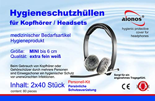 aionos Schutzbezüge MINI 80 Stück - Hygieneschutz Kopfhörer - Kopfhörerschoner – Schutzbezüge für Headsets - Hygieneschutzhüllen für Kopfhörer - Headphone Cover- Kopfhörer Schutzhülle