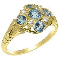 英国製(イギリス製) K14 イエローゴールド 天然 ブルートパーズ 天然 ダイヤモンド レディースー クラスター リング 指輪 各種 サイズ あり