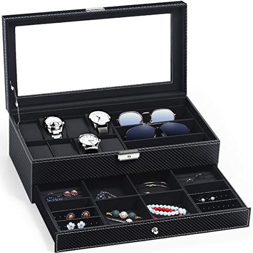 TomCare Watch Box Watch Case Weave Pattern Watch Organizer Lockable Jewelry Case with Drawer Sunglasses Holder Earrings Storage PU Leather Jewelry Organizer with Glass Top for Men Women(Black)
