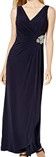 Calvin Klein Womens Embellished Pleated Evening Dress