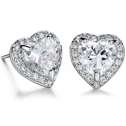 White AAA Cubic Zirconia CZ Heart Shaped Stud Earrings for Women