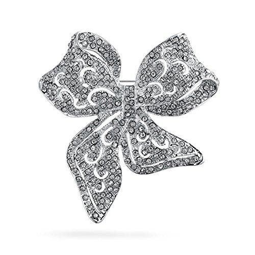 Bling Jewelry Grande STI Vintage Dichiarazione Aperta Nastro Cristallo Filigrana Wedding Arco Spilla Pin per Donne Placcato in Argento