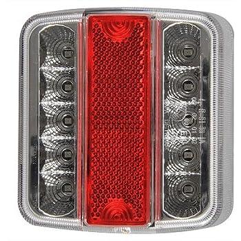 rouge avec halo, rond Hawkeye 2Pcs LED Feu Arri/ère de Remorque Rond /Éclairage Hambourg pour Camion Caravane