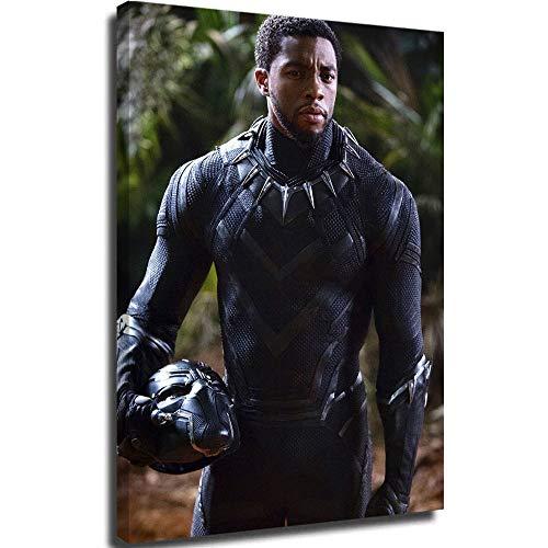 Cuadro de pared de lona de DRAGON VINES famosos cuadros arte de pared negro pantera disfraz chadwick boseman Wakanda Forever Avenger superhéroe moderno familiar dormitorio decoración cartel 61 x 91 cm