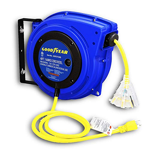 GOODYEAR Extension Cord Reel Extra Long (40 FT or 65 FT) 14AWG 3C SJTOW, Triple Tap Connector, Heavy Duty, Slow Retraction Stop At Any Point (14AWG x 40FT)