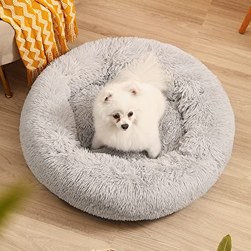 Calming Dog Bed for Puppy Small Cats Donut Dog Bed Pet Cushion Bed Plush Cat Bed Round Anti-Anxiety...