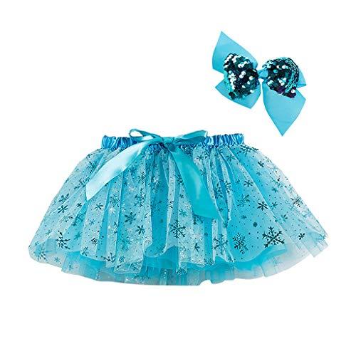 Kinder Mädchen Kostüm Kleidung Set Party Tanz Ballett Spleiß Regenbogen Tüll Rock + Bogen Haarnadel, Blau-2, 9-11 Jahre