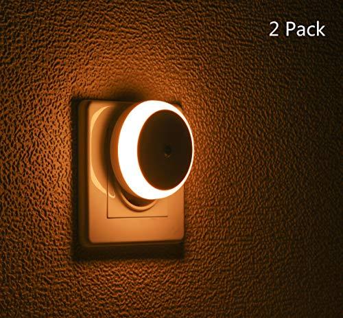 Nachtlicht Stecker, mit Dämmerungssensor, Diffusem Licht, Energieeffizient LED, Automatisch ON OFF, Nachtlicht für Schlafzimmer, Badezimmer, Flur, Treppe, Kinderzimmer, Warmweiß, 2er Pack