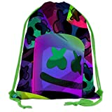 208 Mar-Sh-me-Llo - Mochila con cordón para la cara, mochila escolar, gimnasio, bolsa deportiva