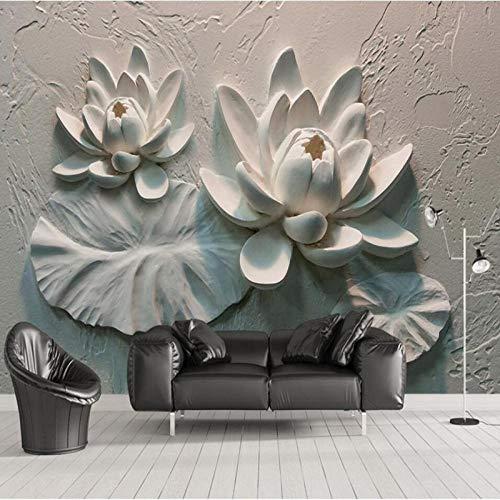 Pbbzl 3D stereo reliëf lotusachtergrond-muur decoratief schilderij afgewerkt groot wandschilderij weefsel behang bijzonder aan 200 x 140 cm.