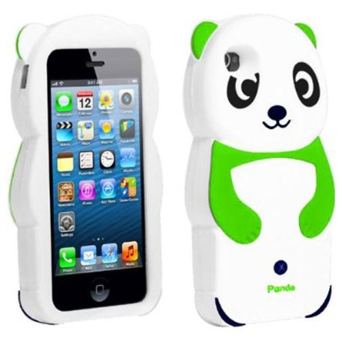 Gadget Zoo 3D-Silikoncover Panda für (iPhone 5 / 5S) Grün grün