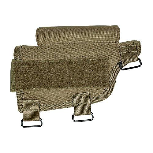 VooDoo Tactical Men's Buttstock Cheek Piece with Ammo Carrier, Coyote