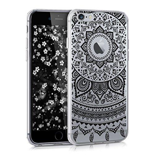 kwmobile Cover Compatibile con Apple iPhone 6 / 6S - Custodia in Silicone TPU - Backcover Protettiva Cellulare Sole Indiano Nero/Trasparente