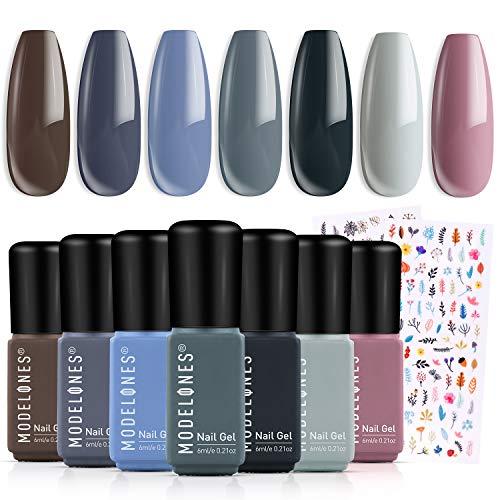 Gel Nail Polish Set Spring Gel Polish 7Pcs Gray Colors Holiday Soak Off Gel Nail Kit Nail Art Manicure Salon Collection by Modelones
