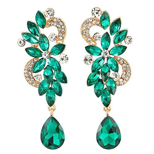 Arte Deco Verde Rhinestones Cristal Cluster Chandelier Araña Luces Floral Lágrima Largo Statement Declaración Pendientes