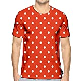 3D Printed T-Shirts Tile with White Polka Dots On Pastel Coral Orange Short Sleeve Tops Tees a