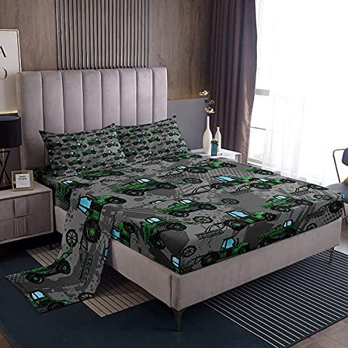Amacigana Juego de sábanas bajeras para niños y excavadoras, 140 x 200 cm, tractor, camión, vehículo de construcción, ropa de cama de dibujos animados