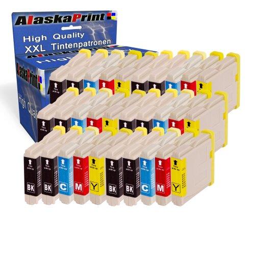 Alaskaprint 30 XL Compatible cartuchos de tinta LC1000 LC970 con Brother DCP-130C 135C 150C 260C 330C 350C 357C 540CN 560CN 750CW 770CW Fax-1355 1360 1460 2840C MFC-235C 240C 440CN 465CN 5460CN (12 Negro,6 Cian,6 Magenta,6 Amarillo)