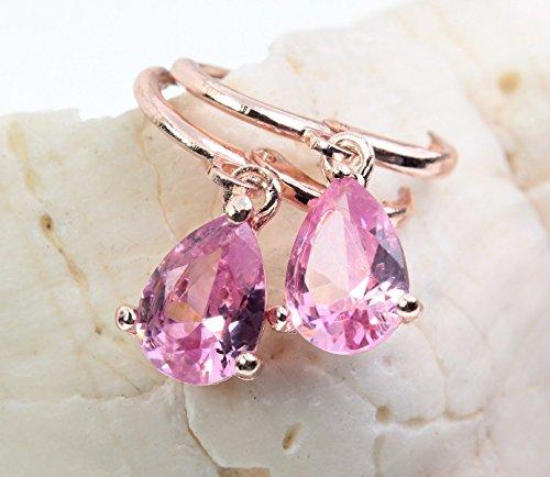 Ohrringe Creolen Ohrhänger rosevergoldet rosavergoldet CZ Kristall Anhänger Farbe: Rotgold