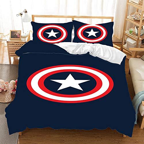 QIAOJIN Marvel Avengers - Juego de ropa de cama con impresión digital 3D de Iron Man Superhero, con...