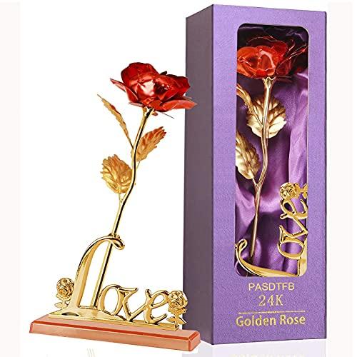 Rosa 24K Chapadas en Oro Flores Artificiales de Rose de Oro Rosa Eterna Flores con Soporte y Caja de Regalo para Novia Esposa Día de San Valentín Día de la Madre Aniversario Boda Cumpleaños Na