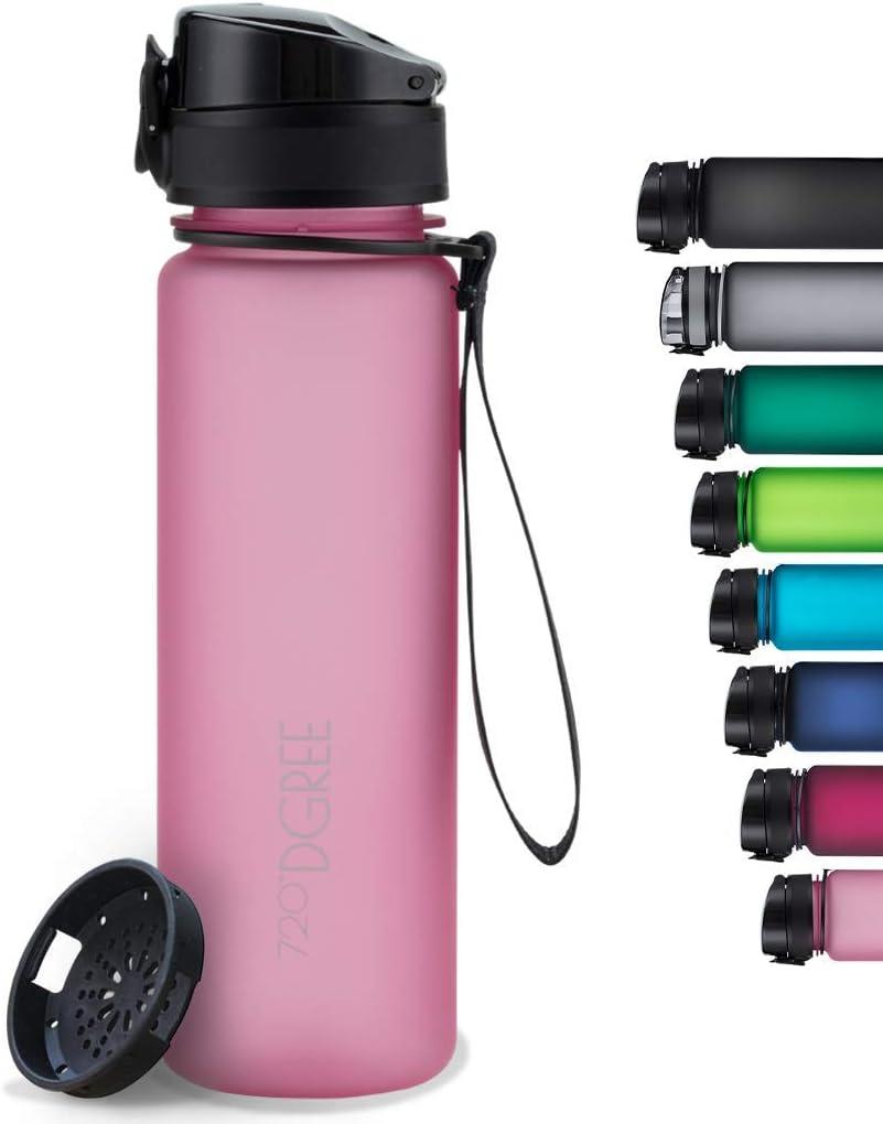 "720°DGREE Botella de Agua ""uberBottle"" +Tamiz – 350ml, 500ml, 650ml, 1000ml, 1500ml | Sin BPA-Free, Impermeable, Reutilizable | para Beber Ideal para niños, Deporte, Escuela, al Aire Libre"