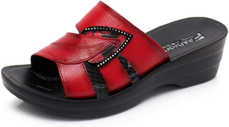 ny ny ny Sommarglid På Läder Läder Läder Open Toe Sandals Kvinna Flip Flops Wedges Plattform strand skor  dagliga låga priser