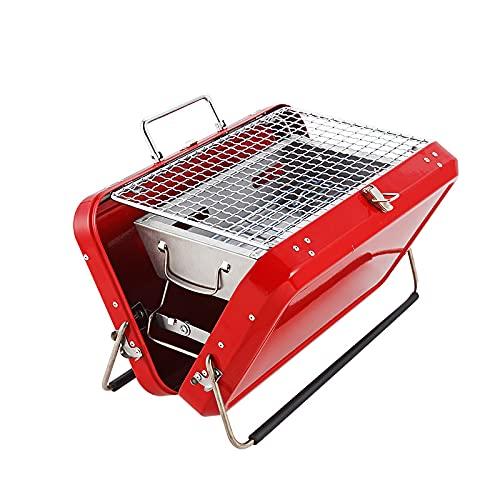 STKJ Parrilla De Barbacoa Plegable con Maleta, Parrilla De Carbón Portátil Que Ahorra Espacio, Mini Estufa Plegable De Acero Inoxidable para Cocinar Al Aire Libre, Acampar,Rojo