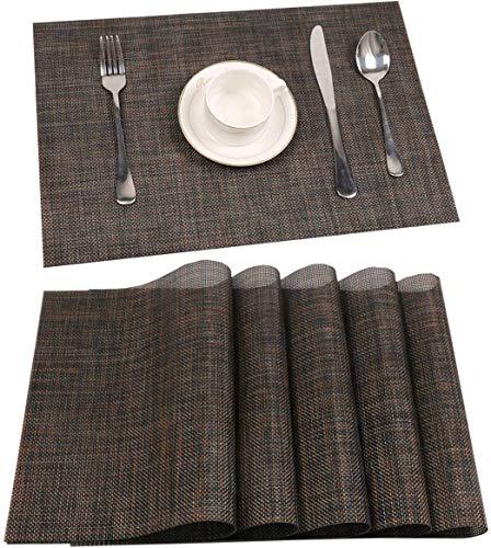 6er 30 x 45 cm Platzdeckchen Platzsets Abwaschbar,Eageroo Anti-Rutsch Tischsets für den Esstisch (Braun)