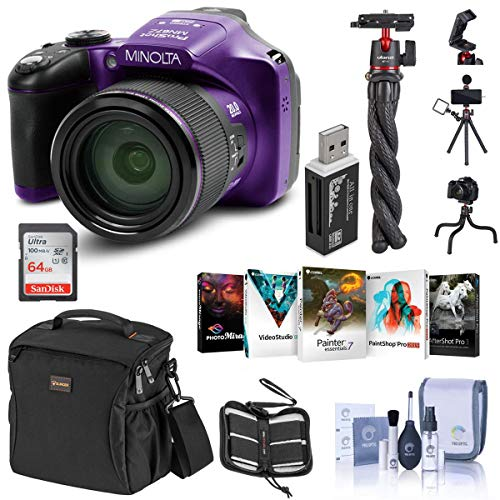 Minolta MN67Z 20MP Full HD Wi-Fi Bridge Camera with 67x Optical Zoom, Purple Essential Bundle with Bag, 64GB SD Card, Octopus Tripod, Corel PC Software Pack and Accessories
