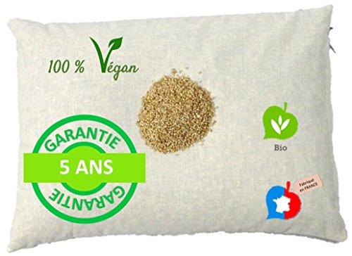 La Cocarde Verte - Oreiller Millet Bio - Oreiller Ergonomique pour la Nuque Coton Bio et balles végétales Bio - Fabrication française Garantie 5 Ans - Écru Naturel