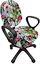 Lunarable Succulent Office Chair Slipcover, Vintage Design Cactus and Flowers Garden Art in Watercolor Style Tropical Fashion, Protective Stretch Decorative Fabric Cover, Standard Size, Green Magenta