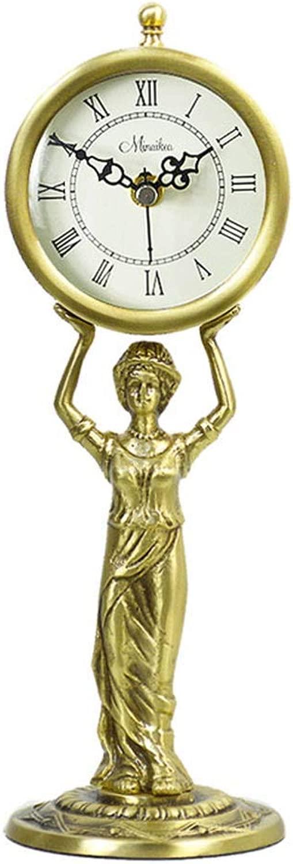 デスククロックファミリークロックレトロな置時計、銅の刻々と過ぎないサイレントマントルクロック寝室用リビングルーム時計リビングルームの寝室に適していますオフィス(色:A)