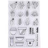 KWELLAM Best Wishes Hello Thank you Cactus Flower Pot Clear Stamps for Card Making Decoration and DIY Scrapbooking