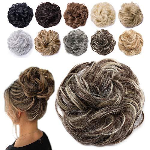 TESS Haarteil Dutt Braun mix Haargummi mit Haaren Gewellt Dicke Haarknoten Hochsteckfrisuren günstig Haarverlängerung Extensions für Frauen 40g Ombre Dunkelbraun/Blond